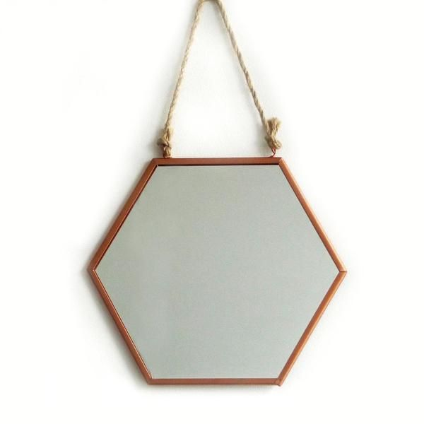 1 mirror Approx Dimensions: H29.5X27 cm { not including rope } Material: metal Wipe clean with damp cloth. Ready to hang on walls.