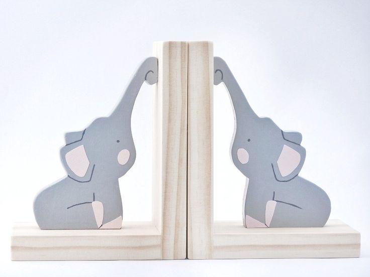 Elephant - Plain Timber Bookends