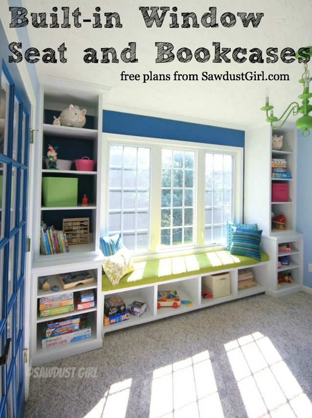 Built-in Window Seat and Bookcases - free and easy plans from https://sawdustgirl.com.