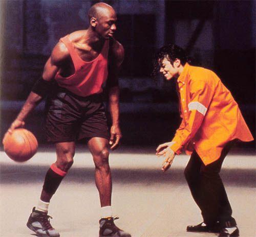 Michael Jordan in Bordeaux 7s, and Michael Jackson