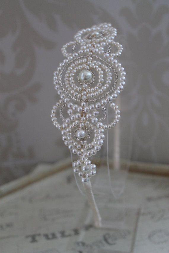 Handmade diamante tiara bridal headdress Art by Thehandmadetiara, £149.00