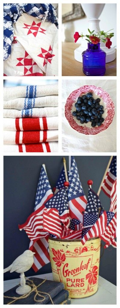 Memorial Day. Red white and blue. 4th of July. Decorating with red white and blue. Vintage decor. Vintage red white and blue decor. Decorating for Memorial Day. – A Memory and Some Recipes