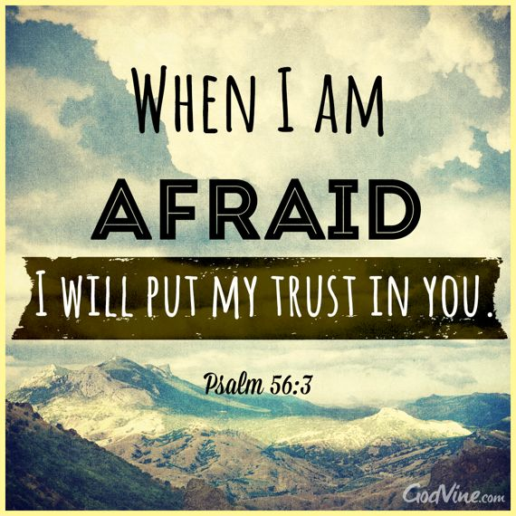"""""""When I am afraid, I will put my trust in you."""" Psalm 56:3"""