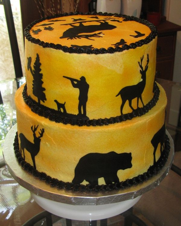 Nicole how cute would this be for Eric or Zac? hunting cake