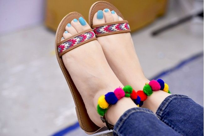 Street Style Store Multicolor Synthetic Leather Pompom Chappals  #Chappal #Multicolor #Pompom