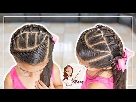 Peinado para niñas con ligas y trenzas pegadas Peinados para niñas faciles y rapidos LPH - YouTube