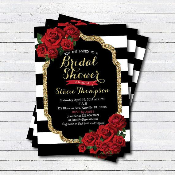 Valentine Bridal shower invitation. Red rose Black by CrazyLime