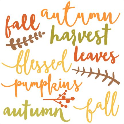 Fall Words Set SVG scrapbook cut file cute clipart files for silhouette cricut pazzles free svgs free svg cuts cute cut files