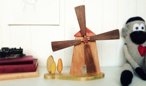 Recycled wood windmill wooden toy children's by AtelierSaintCerf