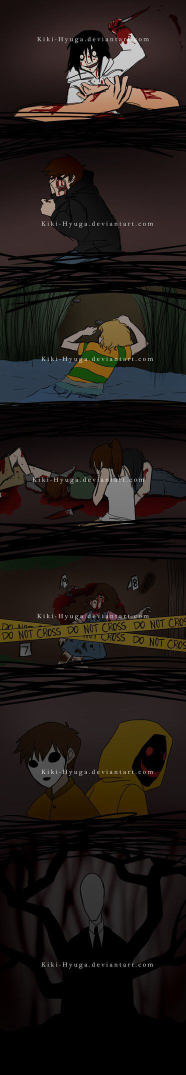 Jeff the Killer, Eyeless Jack, Ben, Jane the Killer, Sally, Masky & Hoodie, and Slenderman