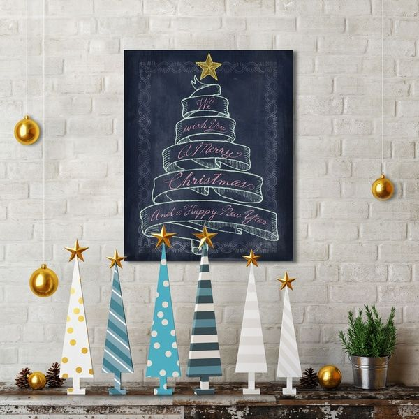Portfolio Canvas Decor Studio Voltaire 'Christmas Banner Tree' Holiday Canvas Print Wall Art (16 x 20)