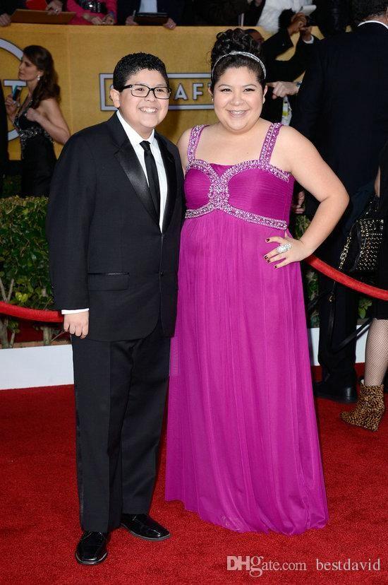 Raini Rodriguez Plus Size Celebrity Prom Dresses 2016 Purple Beaded Straps…