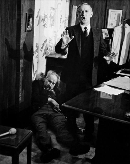 Pennsylvania State Treasurer R. Budd Dwyer shortly after committing suicide in front of reporters, Harrisburg, Pennsylvania, U.S, January 22, 1987