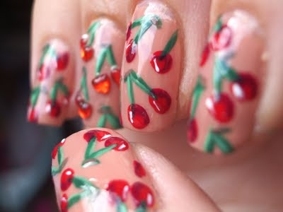 intricate manicure: Nails Art, Nailart Nails, Beautifi Nails, Cherries Nails, Nails Design, Sweet Cherries, Pretty Nails, Cherries Pies Makeup, Art Nails