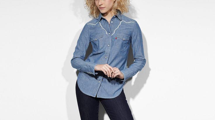 Tailored Western Shirt | Medium Stone Wash | Topjes | Kleding | dames | Levi's | Netherlands