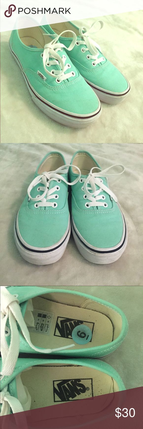 ✨Mint Green Vans✨ Beautiful mint green Vans💎 In excellent condition, really no stains or marks💎Worn once💎Size 6 womens💎Bottoms look brand new, no scuffs or signs of wearing💎Bright white laces💎Authentic💎I accept all reasonable offers💎I love bundles so feel free💎Let's Shop and have some fun💎Feel free to ask any questions, I will respond ASAP💎 Vans Shoes Flats & Loafers
