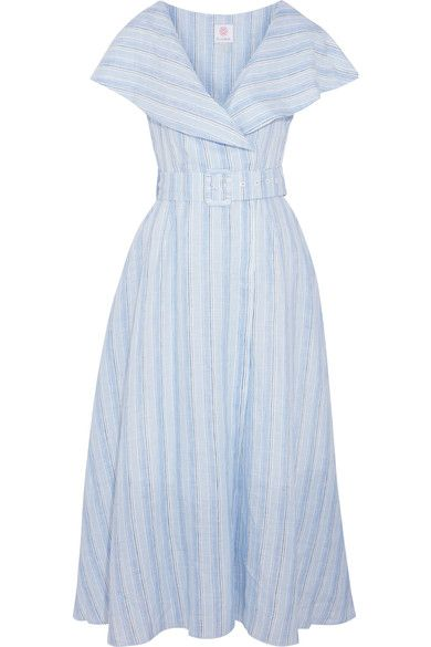 Sky-blue, blue and green linen Concealed snap fastenings through front 100% linen Dry clean