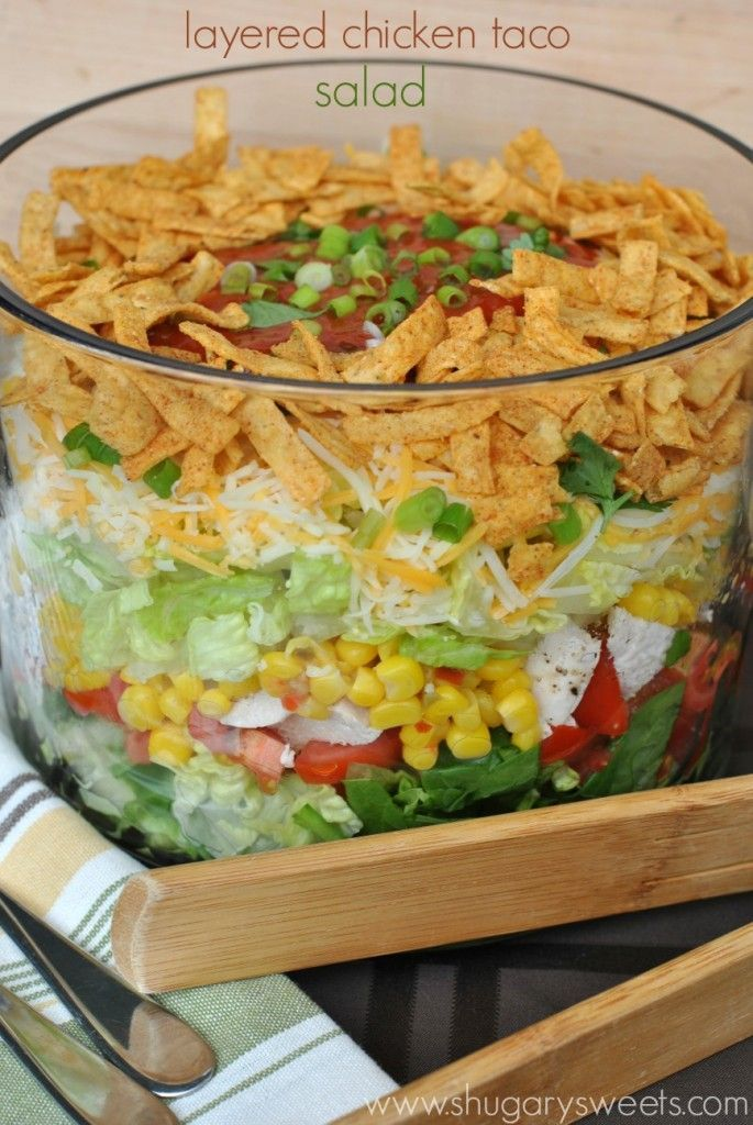 Layered Chicken Taco Salad: a delicious layered salad that's perfect for dinner! Bring to your next potluck or picnic too! Find more details at http://yumwow.com/posts/Layered-Chicken-Taco-Salad-a-delicious-layered-salad-60725