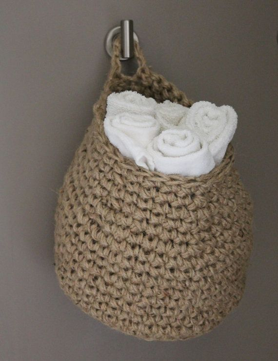 Crocheted Jute Storage Bags by MIZZYPIES on Etsy
