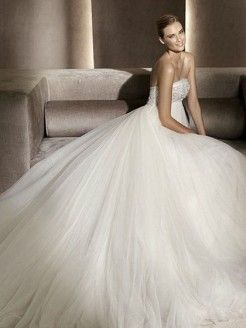 A-line Strapless Tulle Satin Chapel Train Appliques Wedding Dress