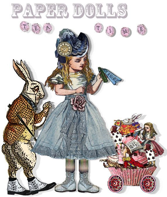 Alice in Wonderland paper doll collage от Raidersofthelostart