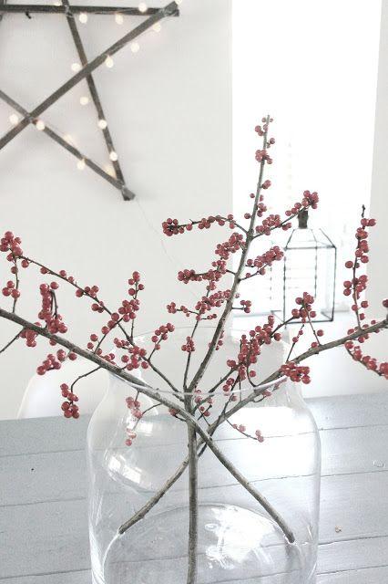 Prachtige rode bessen #takken #glazenvaas #ster