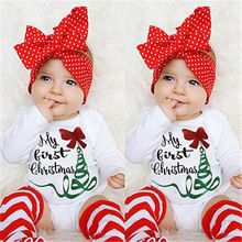 Autumn Winter Children Clothes Newborn Infant Baby Girl Bodysuit Jumpsuit Letter My First Christmas Bow Floral Outfits One-piece(China (Mainland))