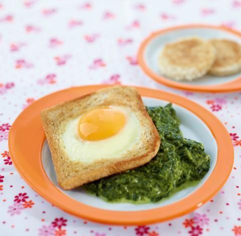 Spinat mit Ei-Toast - [ESSEN UND TRINKEN]