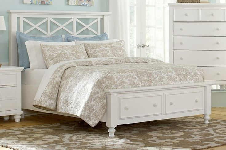 White Queen Bed Frames with drawers storage underneath