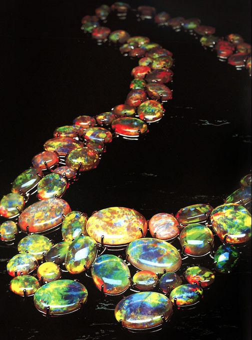 """Karin Tremonti opal necklace - """"The Path of Enlightenment"""", 86  Natural Crystal Opals."""