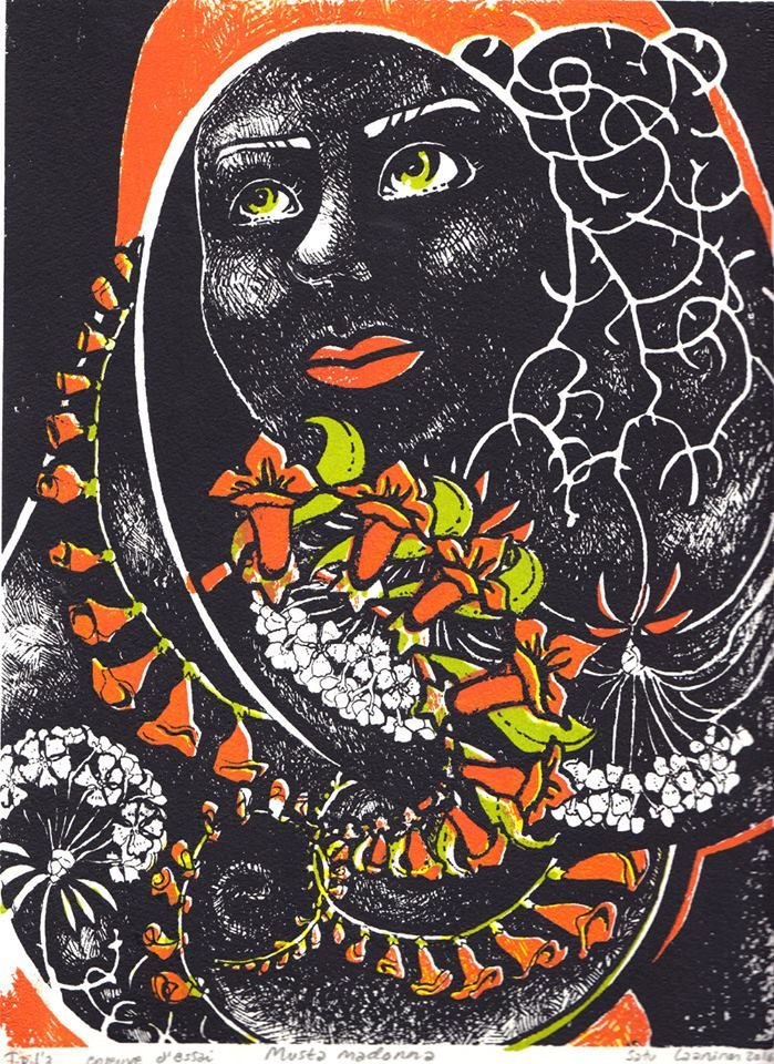 Serigrafia silk screen print Black Madonna by Satu Laaninen 2016