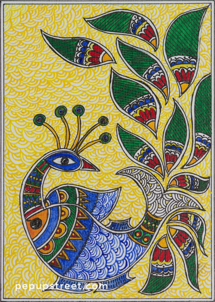 Pep Up Street - Yellow and Blue Peacock Madhubani Mithila Painting