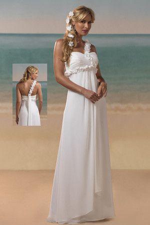 grande immagine 1 Abito da Sposa A Terra a Spiaggia Mezza Coperta con Fiore Senza Maniche