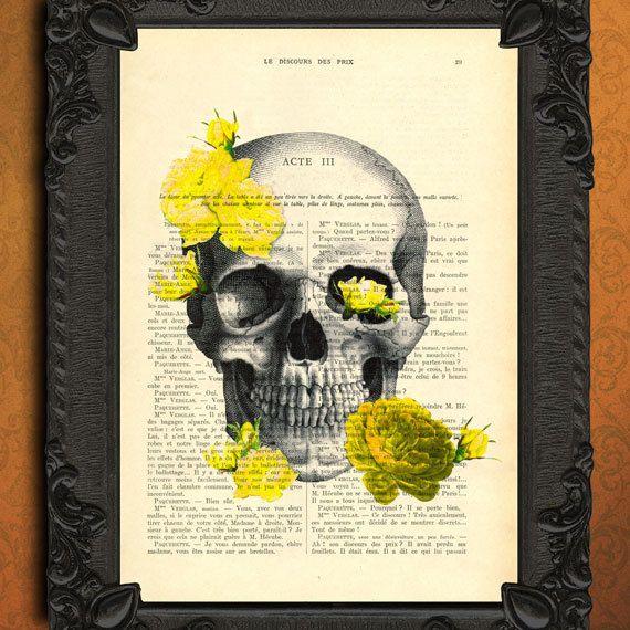 Anatomie impression, anatomiques, affiche, page de dictionnaire illustration, livre décor roses jaunes, publicité, art crâne rétro, décoration de la boîte crânienne, digital