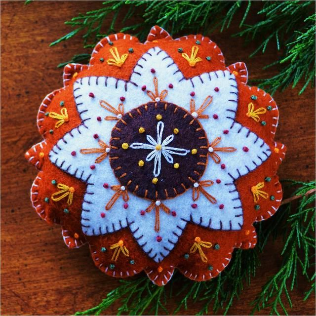 Wool felt pincushion or ornament pattern by Ellen Murphy | American Homestead Design