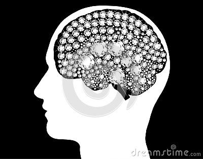 Head silhouette with brain from white diamonds sparkling illuminated mind, powerful thought. The energy of the brain. Concept of thinking, the power of mind, diamond mind icon vector illustration isolated in black and white.