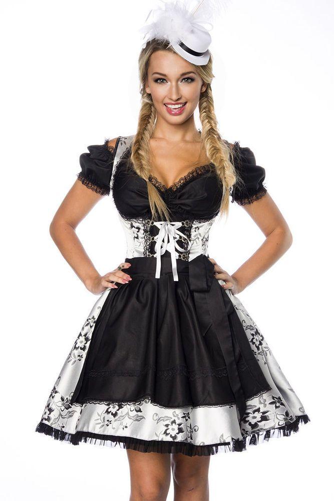 Dirndl Tracht Oktoberfest Trachtenkleid  S M L XL 2XL Kleid Silber Schwarz Weiß