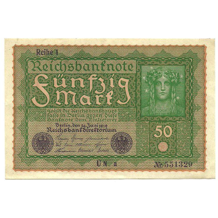 German Banknote, Reichsbanknote, 50 Mark - Uncirculated Note, 1919 Paper Money, Deutsch Currency, European Change