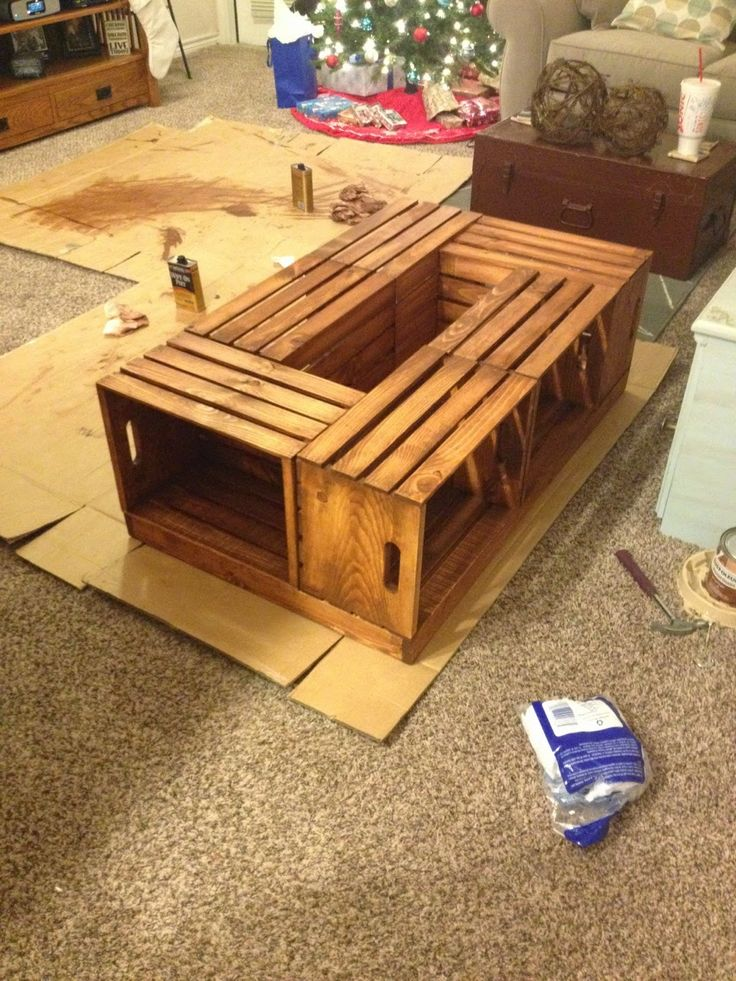 It was love at first sight when I saw the wine crate coffee table on  pinterest