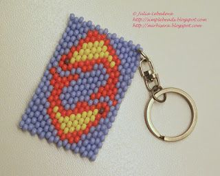 Beaded keychain with zodiac sign Pisces in the brick stitch technique. Free detailed tutorial.