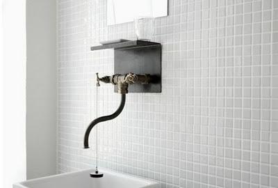 : Modernbathroom, Modern Bathroom Design, Decor Bathroom, Bathroom Fixtures, Grey Tile, Faucets, Bathroom Interiors Design, Mosaics Tile, Design Bathroom