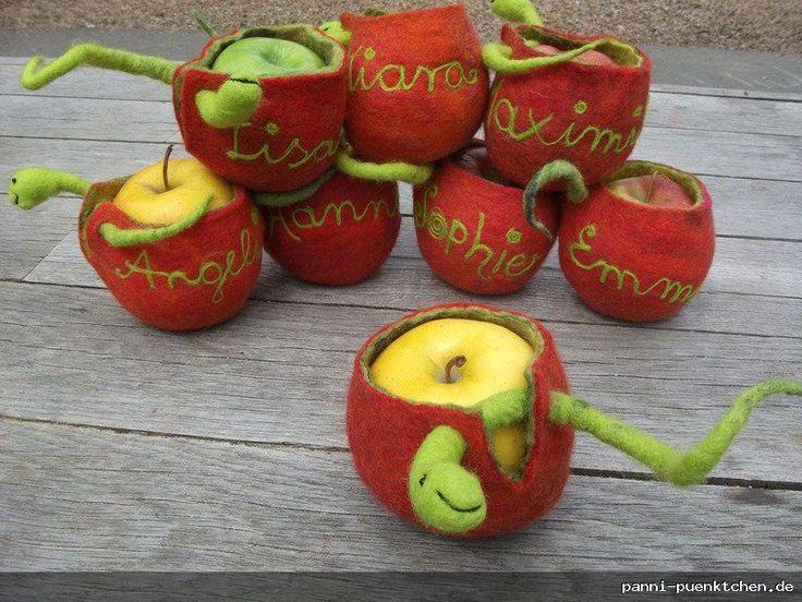 Geschenk zum Schulanfang: Apfeltasche aus Filz