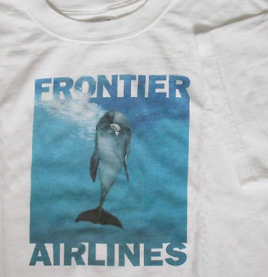 Frontier Airlines Dolphin Porpoise Tshirt XL Colorful