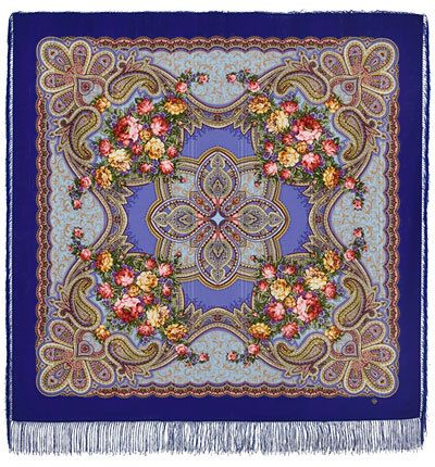 Wool Russian Pavlovo Posad Shawl Scarf 146x146cm with the