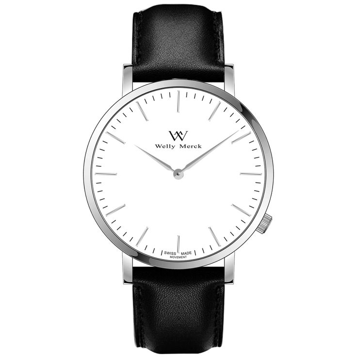 A round silver case with classically curved lugs,elegant hue, the silver hands match the case colors and underscore their prominent design,color-coordinated leather strap, inimitable and upscale watch.