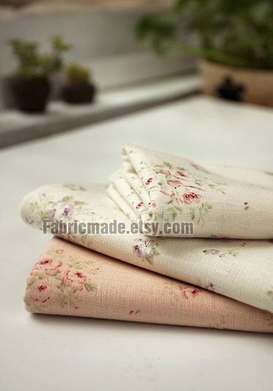 Classical Rose Fabric White Linen Cotton With Pink Purple Floral Shabby Chic Quilting By Yard