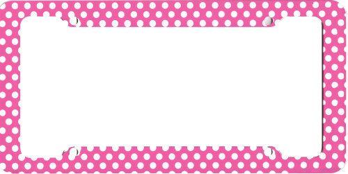 Fun Girly Pink Polka Dots Plastic Car License Plate Frame