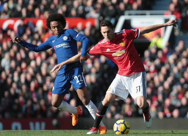 Nemanja Matic Of Manchester United In Action With Willian Of Chelsea During The Premier League Match Between Manchester U Manchester United Manchester The Unit