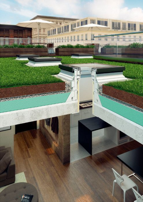 FAKRO flat roof window installed on grass roof creates a roof top to enjoy from above and below. A flat roof FAKRO window will brighten dark room, control the flow of fresh air and reduce energy costs. Click on the photo see the complete range of domes and windows.
