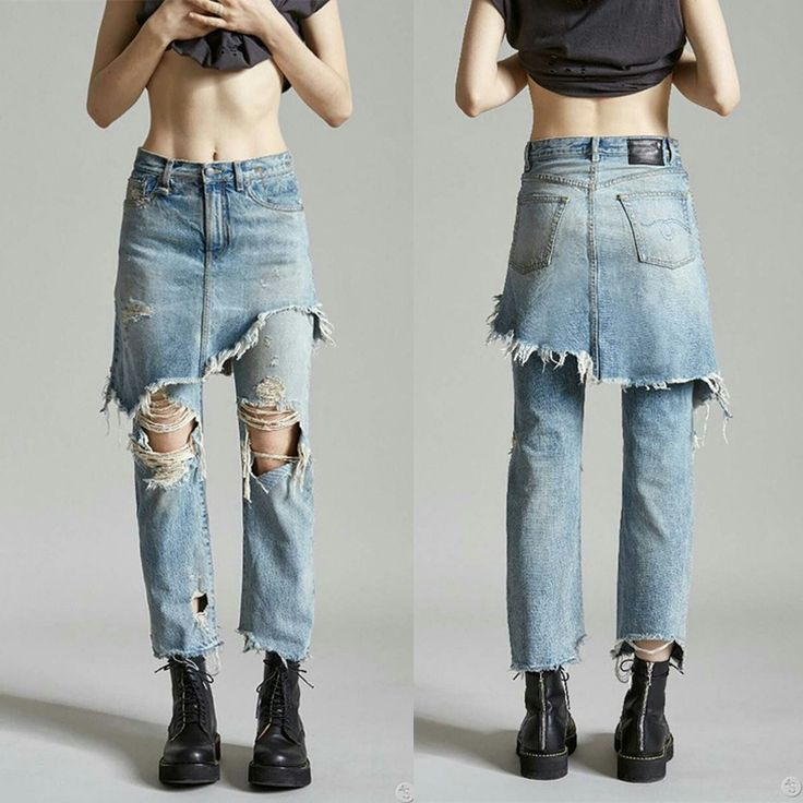 29.99$  Know more - http://aizap.worlditems.win/all/product.php?id=32767024566 - 2016 New False Two-Piece Woman Jeans Fashion Washed Vintage Hole Woman Straight Trouser Patchwork Personality Woman Denim Pant